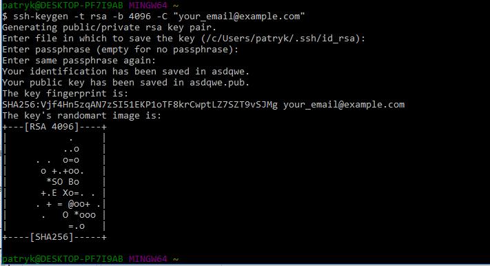 Git Bash ssh-keygen